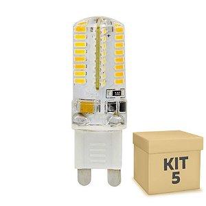 Kit 5 Lampada LED Halopin G9 3w Branco Quente 220V | Inmetro