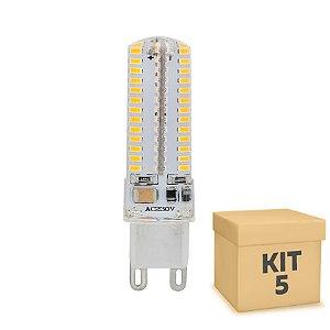 Kit 5 Lampada LED Halopin G9 5w Branca|Amarela 220V | Inmetro