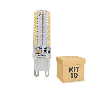 Kit 10 Lampada LED Halopin G9 5w Branca|Amarela 220V | Inmetro
