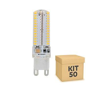 Kit 50 Lampada LED Halopin G9 5w Branca|Amarela 220V | Inmetro