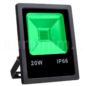 Refletor Holofote LED 20W Verde Preto