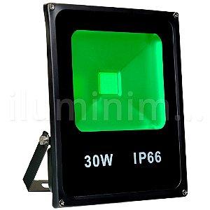 Refletor Holofote LED 30w Verde Preto