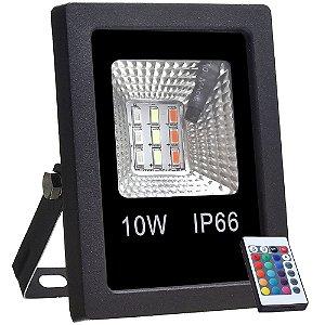 Refletor Holofote MicroLED SMD 10w RGB Colorido com Controle