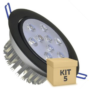 Kit 5 Spot Dicróica 9w LED Direcionável Corpo Preto