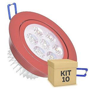 Kit 10 Spot Dicróica 7w LED Direcionável Corpo Vermelho