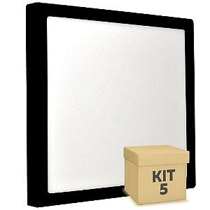 Kit 5 Luminária Plafon 25w LED Sobrepor Branco Quente Preto