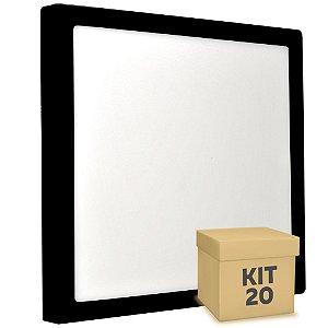 Kit 20 Luminária Plafon 25w LED Sobrepor Branco Quente Preto