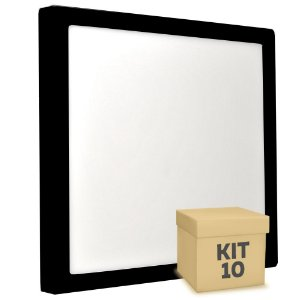 Kit 10 Luminária Plafon 25w LED Sobrepor Branco Frio Preto
