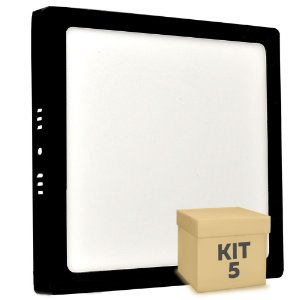Kit 5 Luminária Plafon 18w LED Sobrepor Branco Neutro Preto