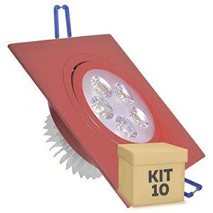 Kit 10 Spot 5W Dicróica LED Direcionavel Base Vermelho