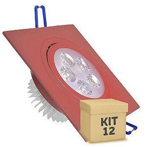 Kit 12 Spot 5W Dicróica LED Direcionavel Base Vermelho