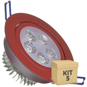 Kit 5 Spot Dicróica 5w LED Direcionável Corpo Vermelho