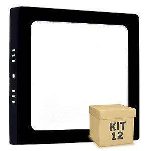 Kit 12 Luminária Plafon 12w LED Sobrepor Branco Frio Preto