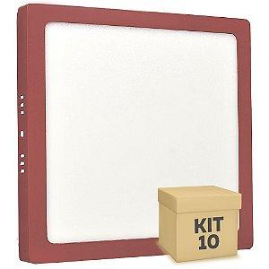 Kit 10 Luminária Plafon 18w LED Sobrepor Branco Frio Vermelho
