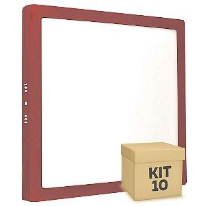 Kit 10 Luminária Plafon 25w LED Sobrepor Branco Frio Vermelho
