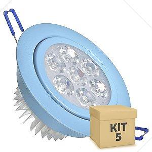 Kit 5 Spot Dicróica 7w LED Direcionável Corpo Azul