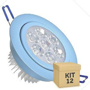 Kit 12 Spot Dicróica 7w LED Direcionável Corpo Azul