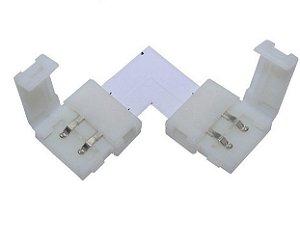 Conector Fita Led 8mm em L - 2 Vias
