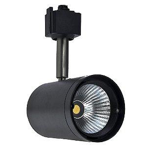 Spot LED 12W Branco Frio para Trilho Eletrificado Preto