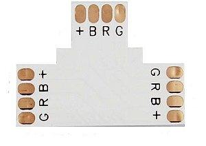 Conector Fita Led 10mm Tipo T - 2 Vias