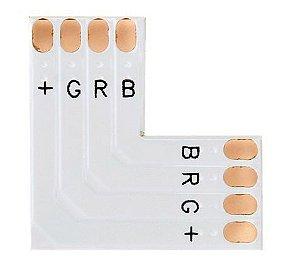 Conector PCB em L para Fita Led 10mm RGB 4 Vias