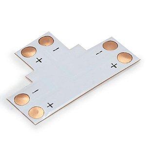 Conector PCB em T para Fita Led 8mm 2 Vias