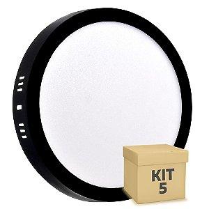 Kit 5 Luminária Plafon 18w LED Sobrepor Branco Quente Preto