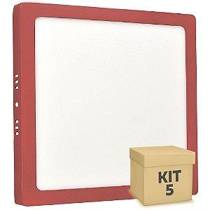 Kit 5 Luminária Plafon 25w LED Sobrepor Branco Quente Vermelho
