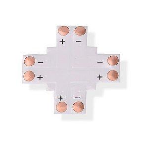 Conector PCB em Cruz para Fita Led 8mm 2 Vias