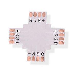 Conector PCB em Cruz para Fita Led 10mm RGB 4 Vias