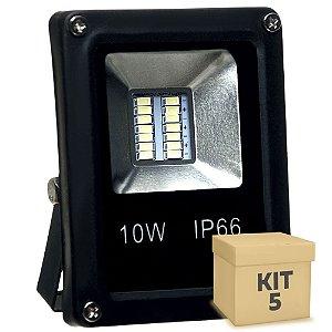 Kit 5 Refletor Holofote MicroLED Slim 10W Branco Frio