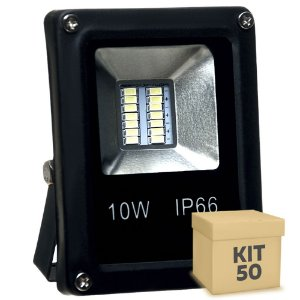 Kit 50 Refletor Holofote MicroLED 10W Branco Quente