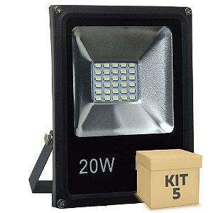 Kit 5 Refletor Holofote MicroLED Slim 20W Branco Frio
