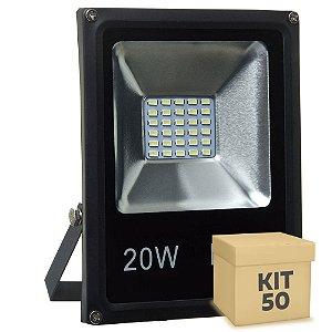 Kit 50 Refletor Holofote MicroLED Slim 20W Branco Frio