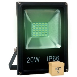 Kit 5 Refletor Holofote MicroLED SMD 20W Verde