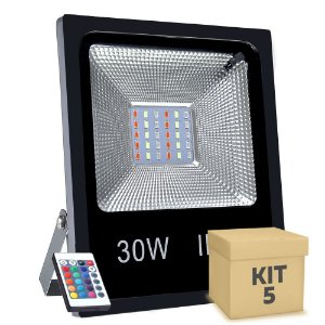 Kit 5 Refletor Holofote MicroLED SMD 30w RGB Colorido com Controle