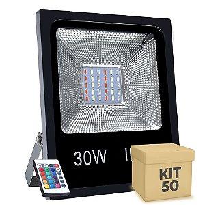 Kit 50 Refletor Holofote MicroLED SMD 30w RGB Colorido com Controle