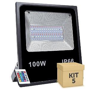 Kit 5 Refletor Holofote MicroLED SMD 100W RGB Colorido com Controle