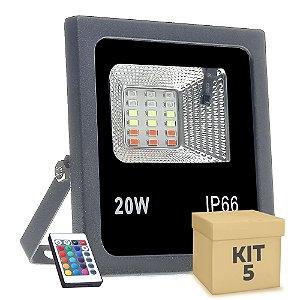Kit 5 Refletor Holofote MicroLED SMD 20w RGB Colorido com Controle