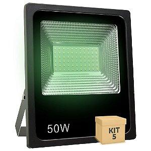 Kit 5 Refletor Holofote MicroLED SMD 50W Verde