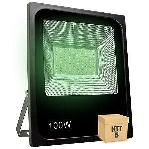 Kit 5 Refletor Holofote MicroLED SMD 100W Verde