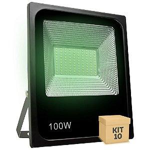 Kit 10 Refletor Holofote MicroLED SMD 100W Verde