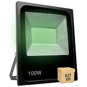 Kit 20 Refletor Holofote MicroLED SMD 100W Verde