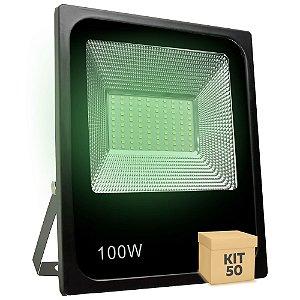 Kit 50 Refletor Holofote MicroLED SMD 100W Verde