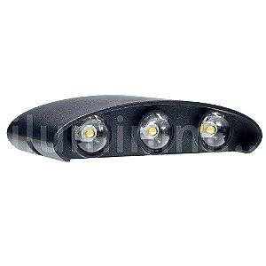 Luminária Arandela LED 6W Branco Quente Externa - Preta
