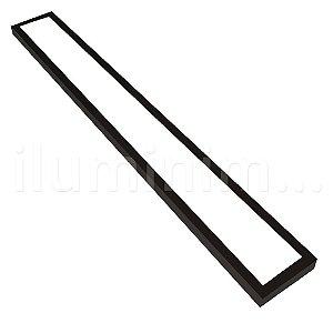 Luminária Plafon LED 15x120 36w Sobrepor Branco Frio Preto