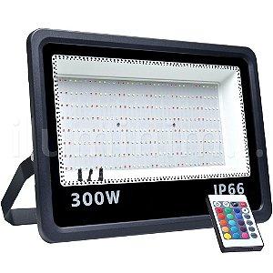 Refletor MicroLED Ultra Thin 300W RGB Colorido com Controle Black Type