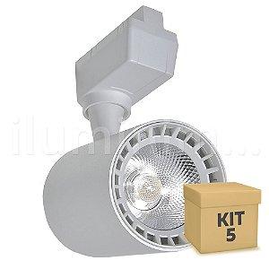 Kit 5 Spot LED 10W Branco Quente para Trilho Eletrificado Branco