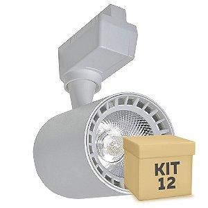 Kit 12 Spot LED 10W Branco Quente para Trilho Eletrificado Branco