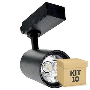 Kit 10 Spot LED 10W Branco Neutro para Trilho Eletrificado Preto